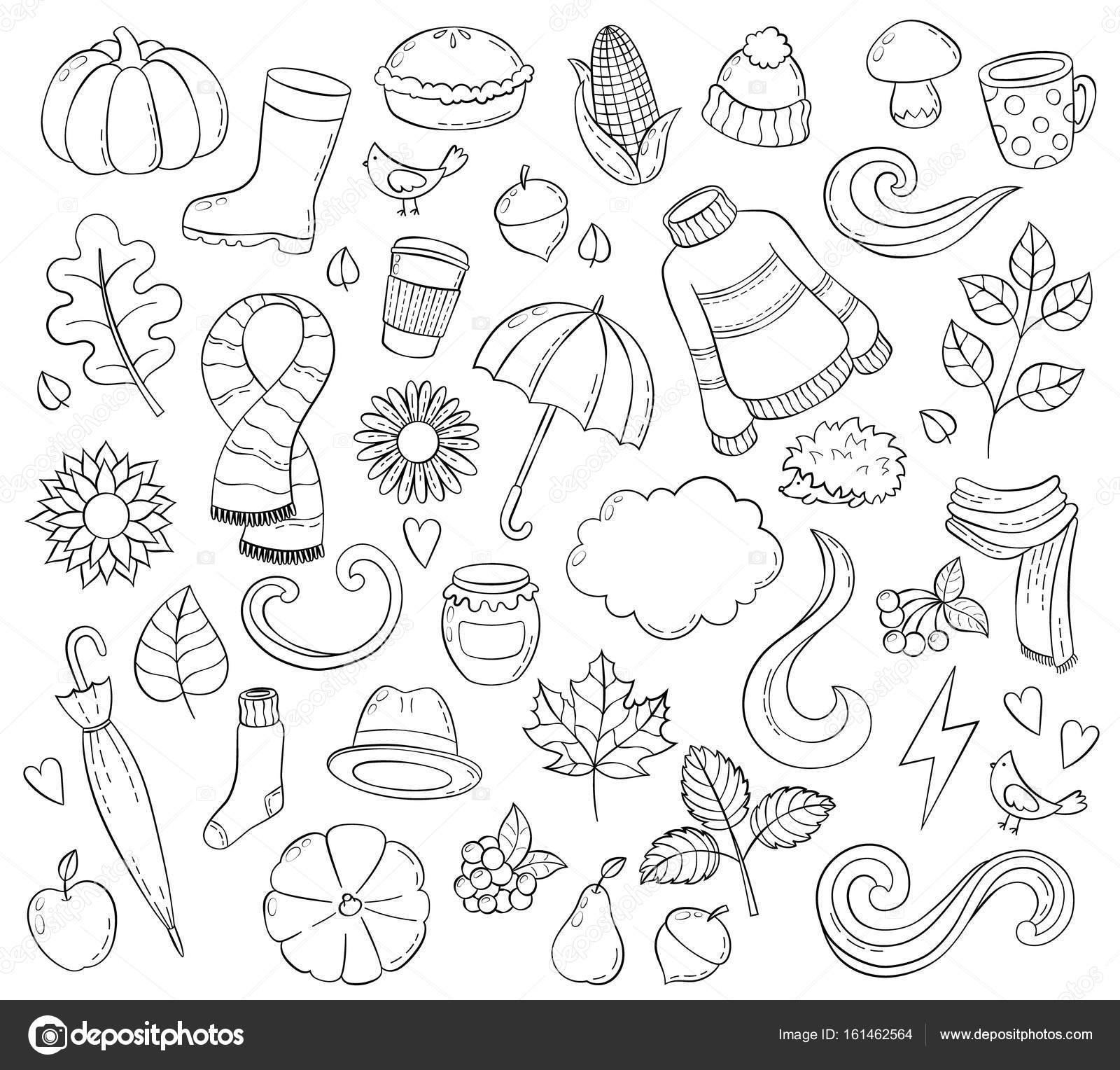 Conjunto otoño dibujado a mano doodle ilustraciones. Fondo ...