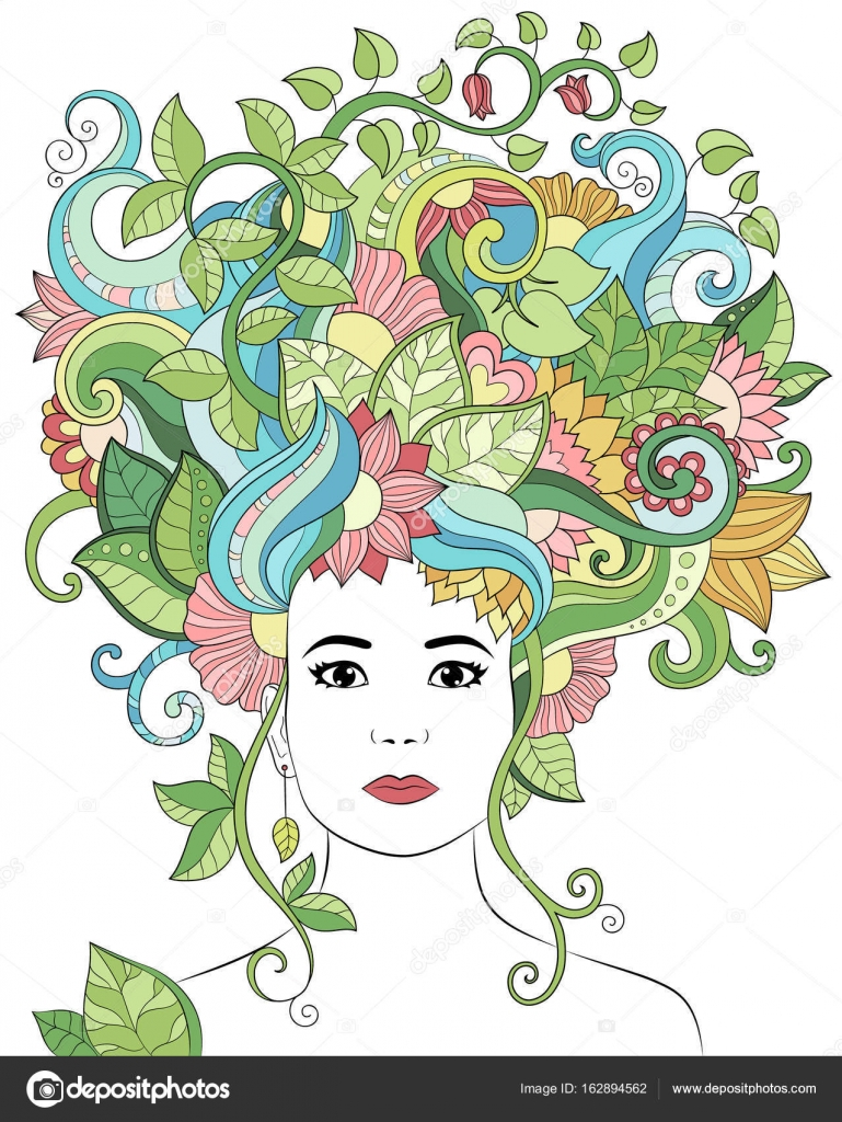 Vector hand drawn illustration woman portrait with floral hair ...