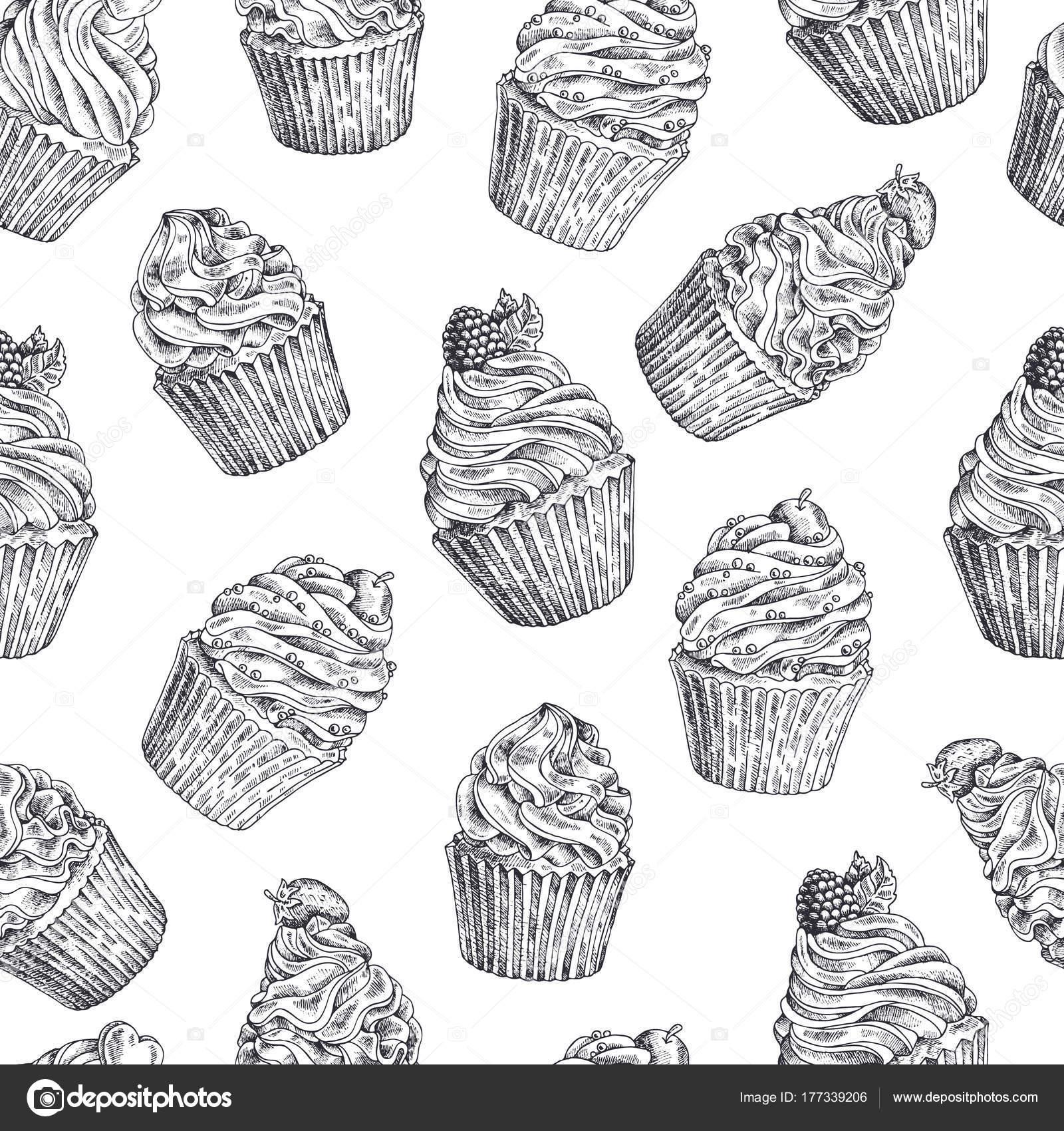 Satz von Vektor-handgemalte Cupcakes. Vorlage für Postkarte ...