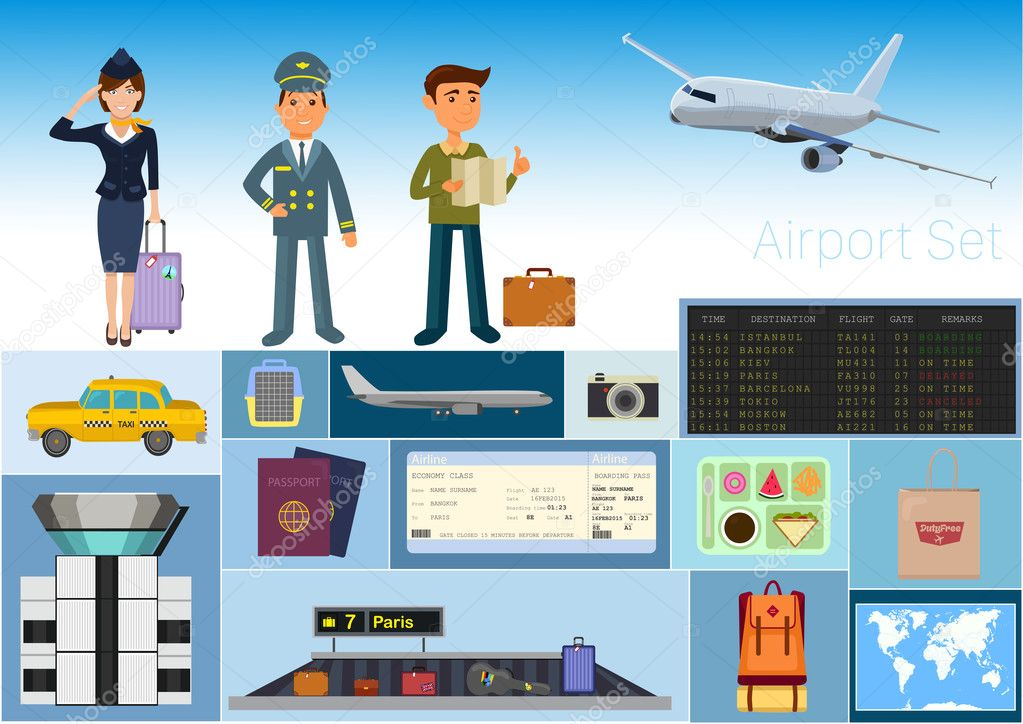 Airport set vector / Stewardess and pilot / tourist with ...