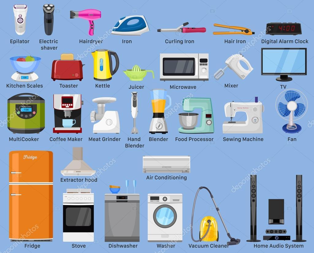 Conjunto del hogar, cocina y casa de aparatos de electrónica. Varios ...