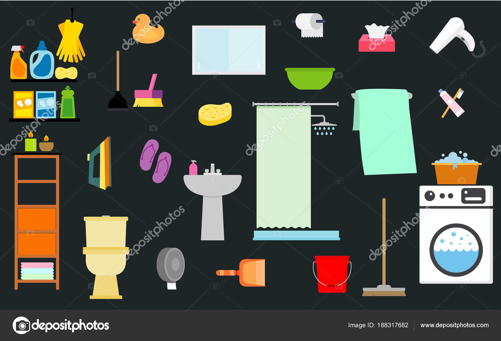Vector Illustration Bathroom Objects Vector Background Bathroom Soap