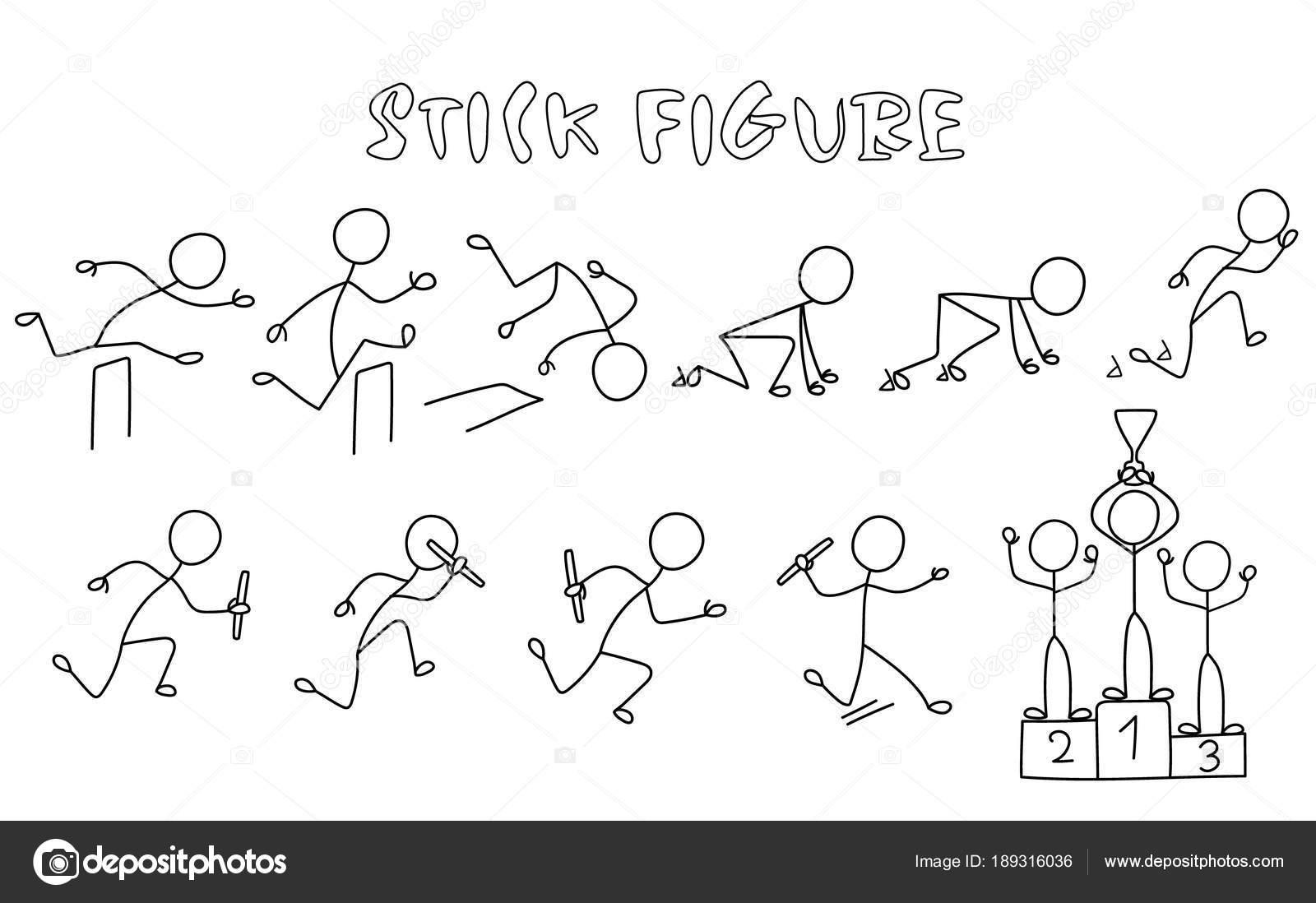 Jeu Stick Figure Athlétisme Simple Dessiner Des Images Personnes