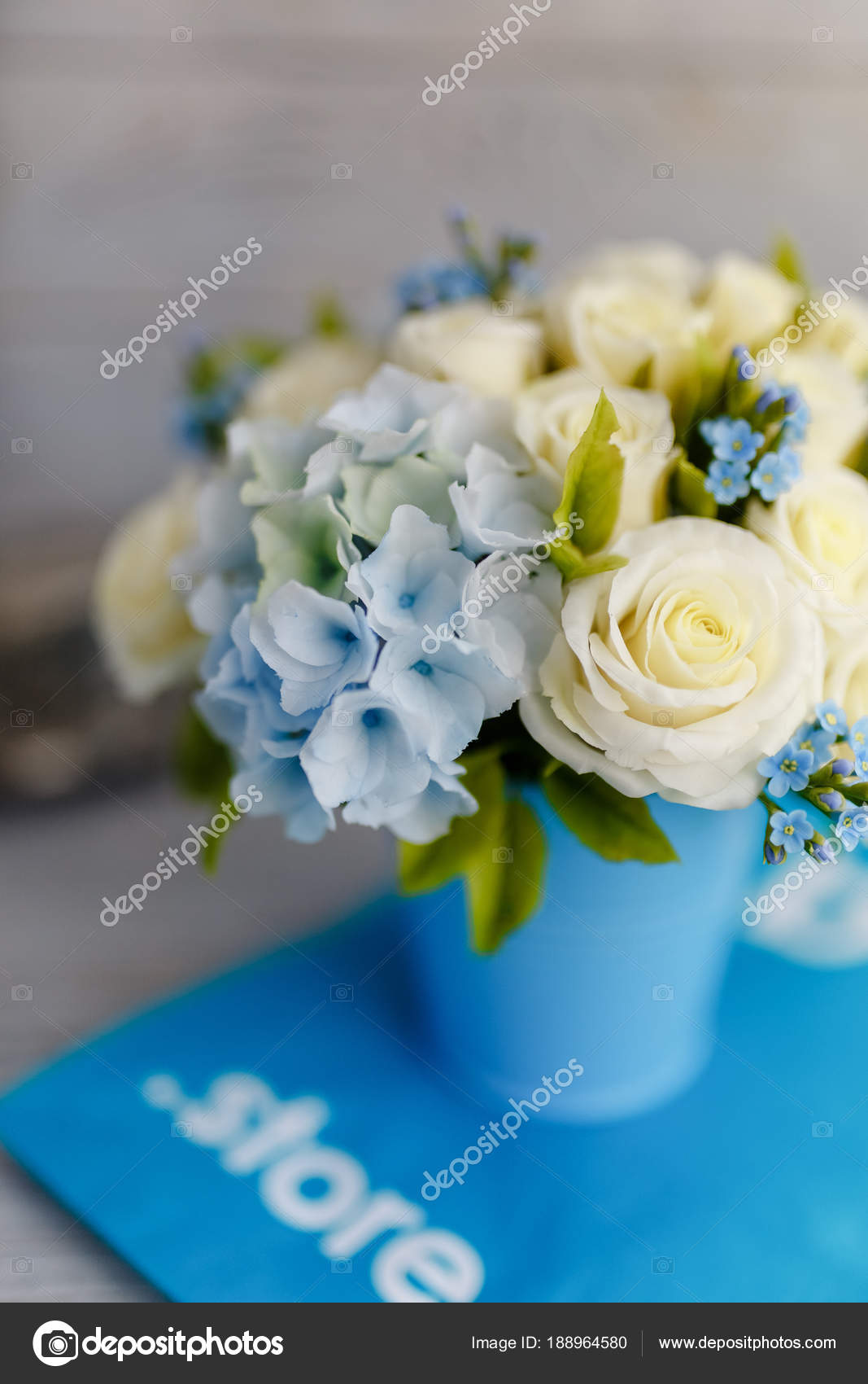 Exquisite spring bouquet blue white wedding flowers wedding floral exquisite spring bouquet blue white wedding flowers wedding floral decorations stock photo izmirmasajfo Choice Image