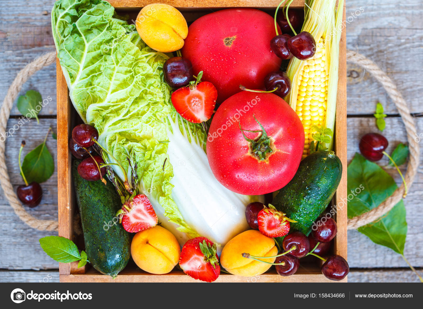 Summer Fruits And Vegetables In A Wooden Box. U2014 Stock Photo