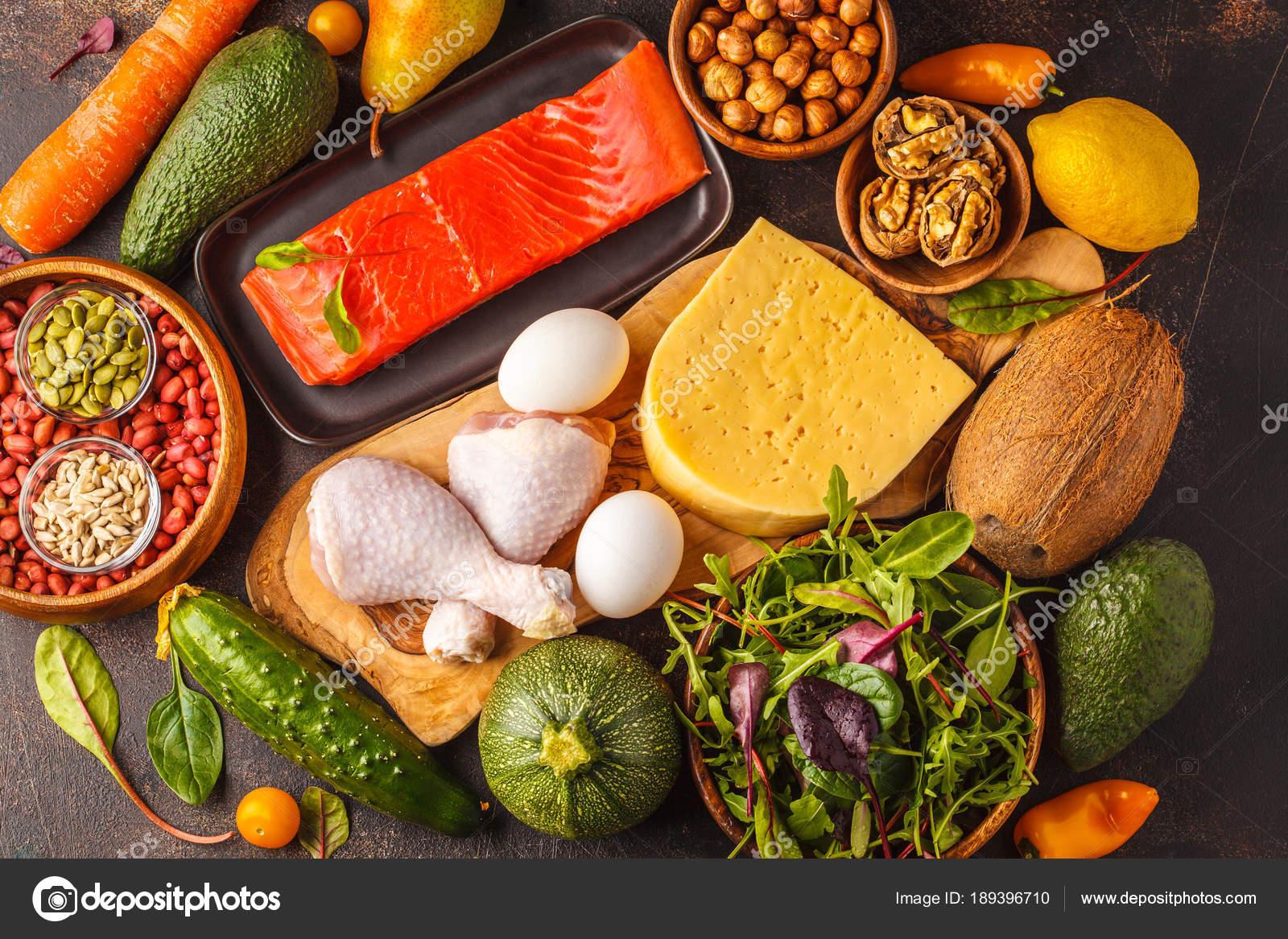 Keto Ketogene Diat Konzept Ausgewogene Low Carb Lebensmittel