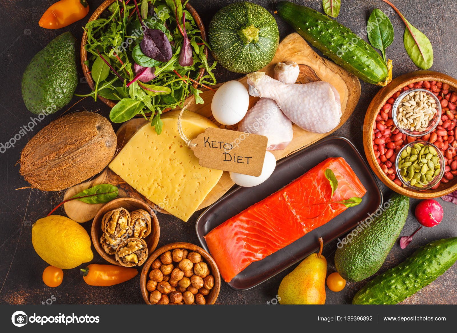 Keto (ketogenic) diet concept. Balanced low-carb food background — Stock Photo © vaaseenaa ...