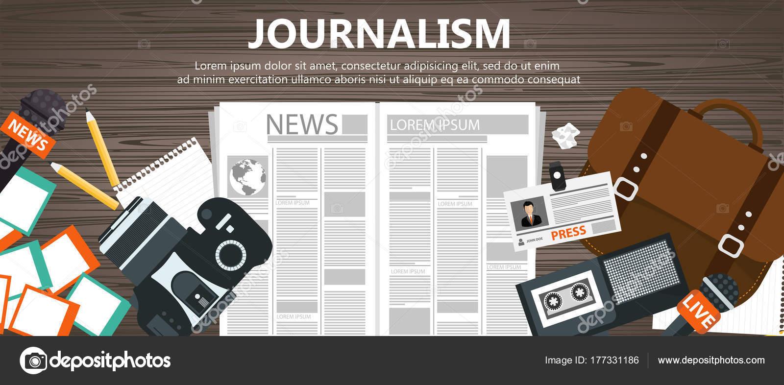 Journalism Flat Banner Equipment Journalist Desk Flat Vector Illustration —  Stock Vector