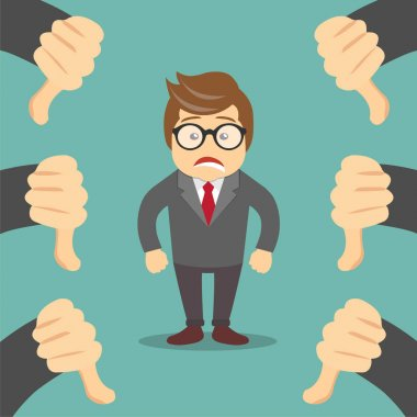 Sad businessman and many hands with thumbs down. Dislikes and negative feedback concept. Flat vector illustration