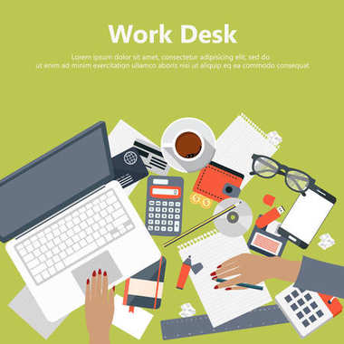 Modern office work desk with laptop and office equipment in flat vector.