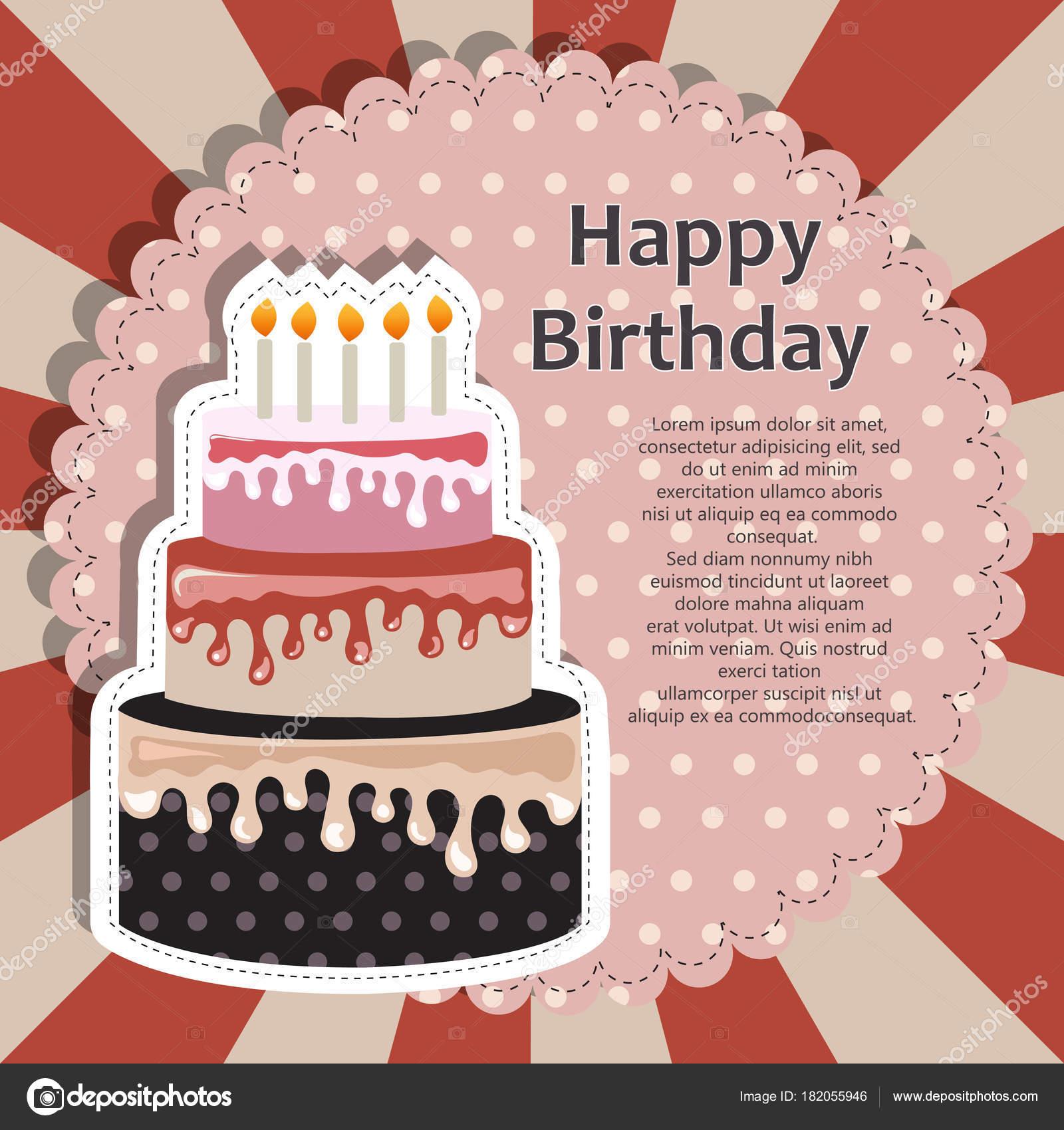 Birthday Card Cake Concept Birthdays Valentine Day Weddings Flat