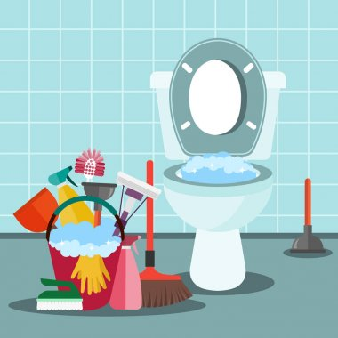 Cleaning service concept. Bathroom interior with toilet bowl and cleaning equipment. Flat vector illustration.