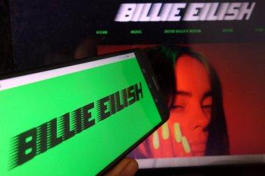 KONSKIE, POLAND - January 11, 2020: Billie Eilish logo on mobile phone