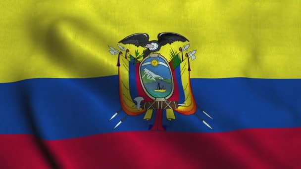 Ecuador flag waving in the wind. National flag Republic of Ecuador
