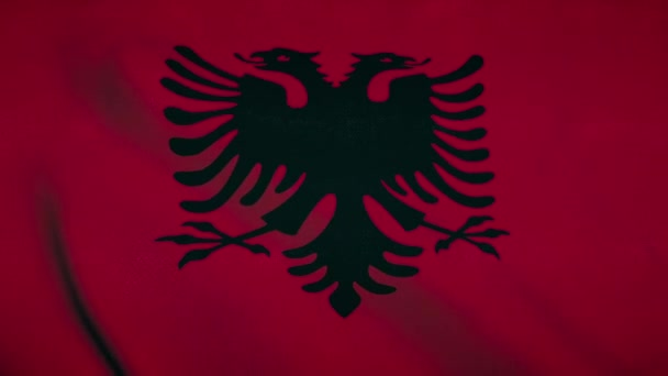 Albania flag waving in the wind. National flag Republic of Albania