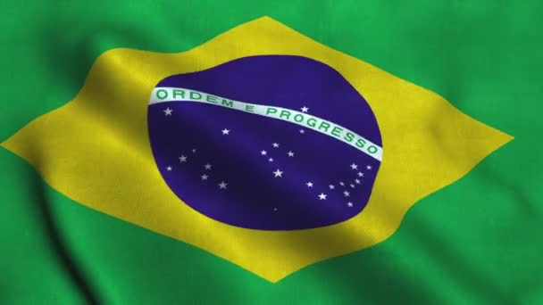 Brazil flag waving in the wind. National flag Federative Republic of Brazil
