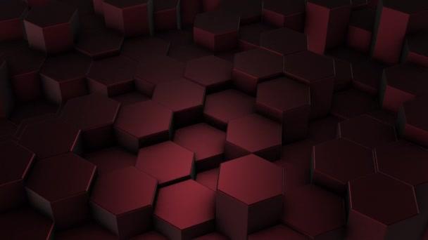 Tmavě červené šestiúhelníky geometrické pozadí v pohybu