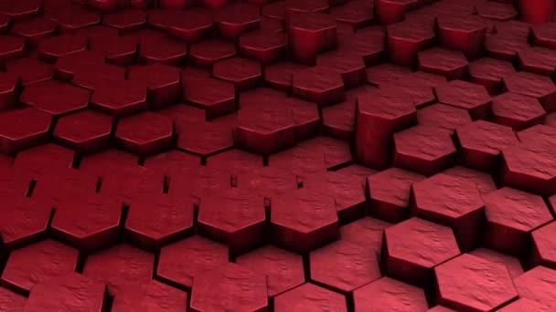 Roter sechseckiger geometrischer Hintergrund in Bewegung