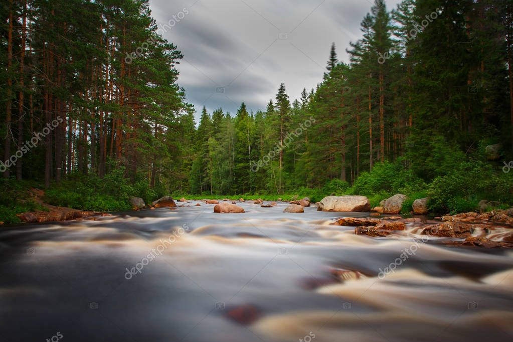 River flows though the rocks and forest