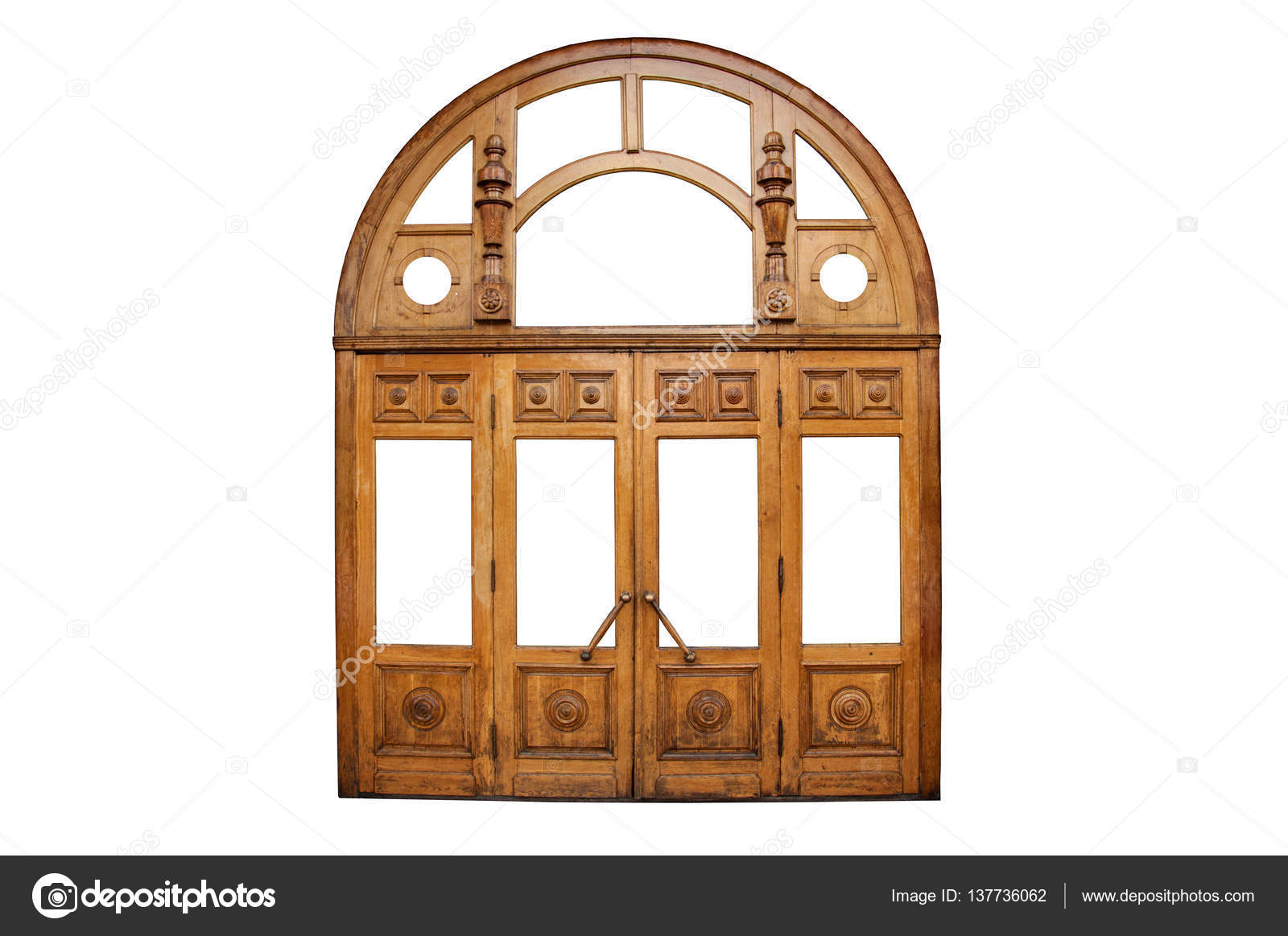 Big old wooden doors decorated with carvings u2014 Stock Photo  sc 1 st  Depositphotos & Big old wooden doors decorated with carvings u2014 Stock Photo ...