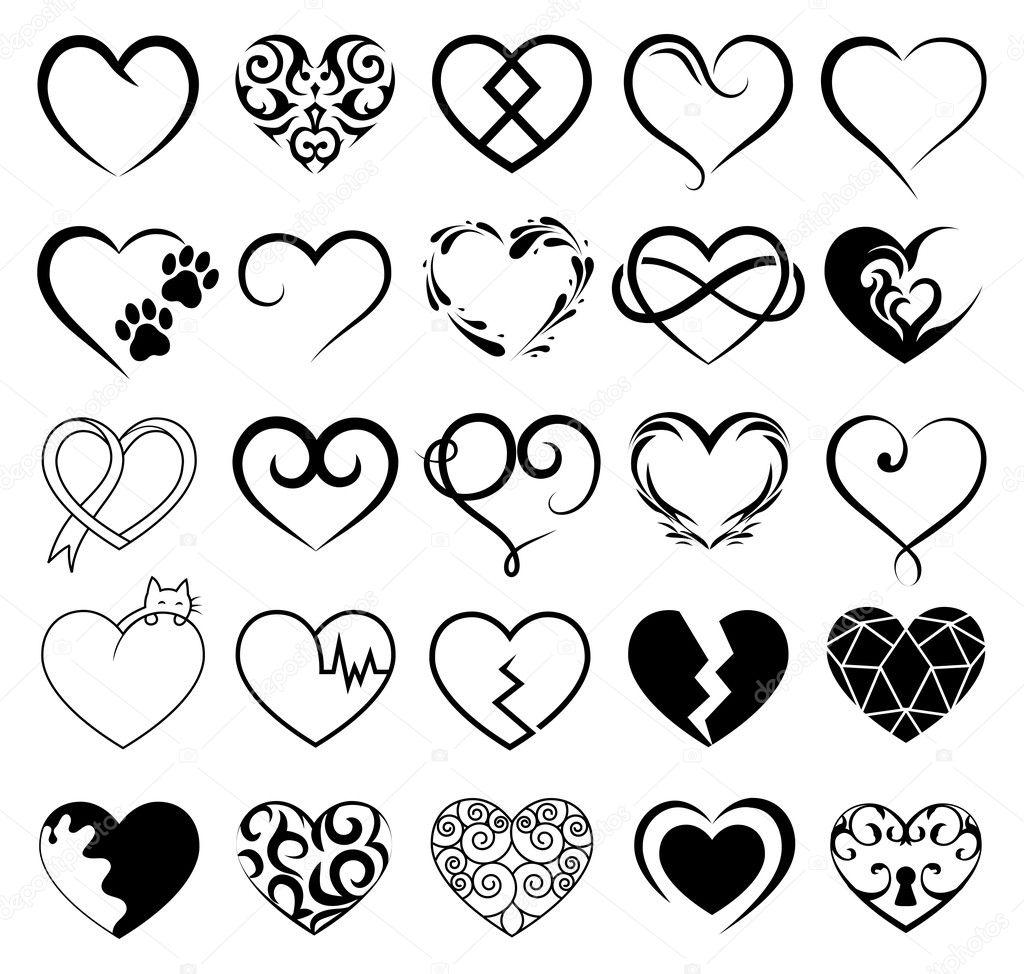 set of 25 tattoo hearts image vector symbol stock vector