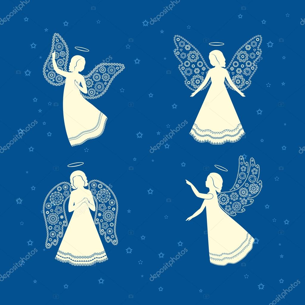 Christmas Angels.Christmas Angels On A Background Of Sky And Stars Stock
