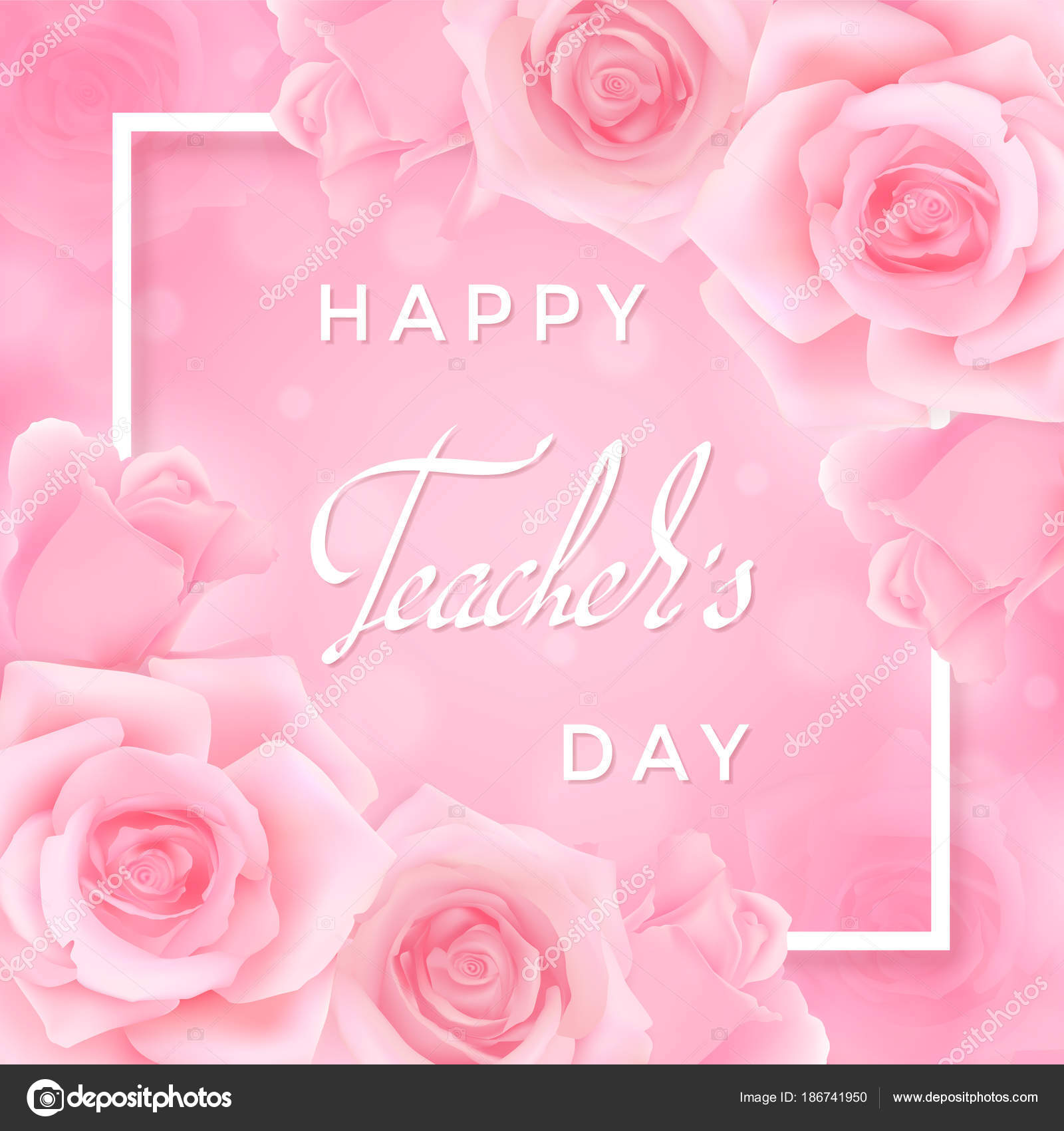 Happy teachers day greeting card pink roses white frame hand stock happy teachers day greeting card pink roses white frame hand stock vector m4hsunfo