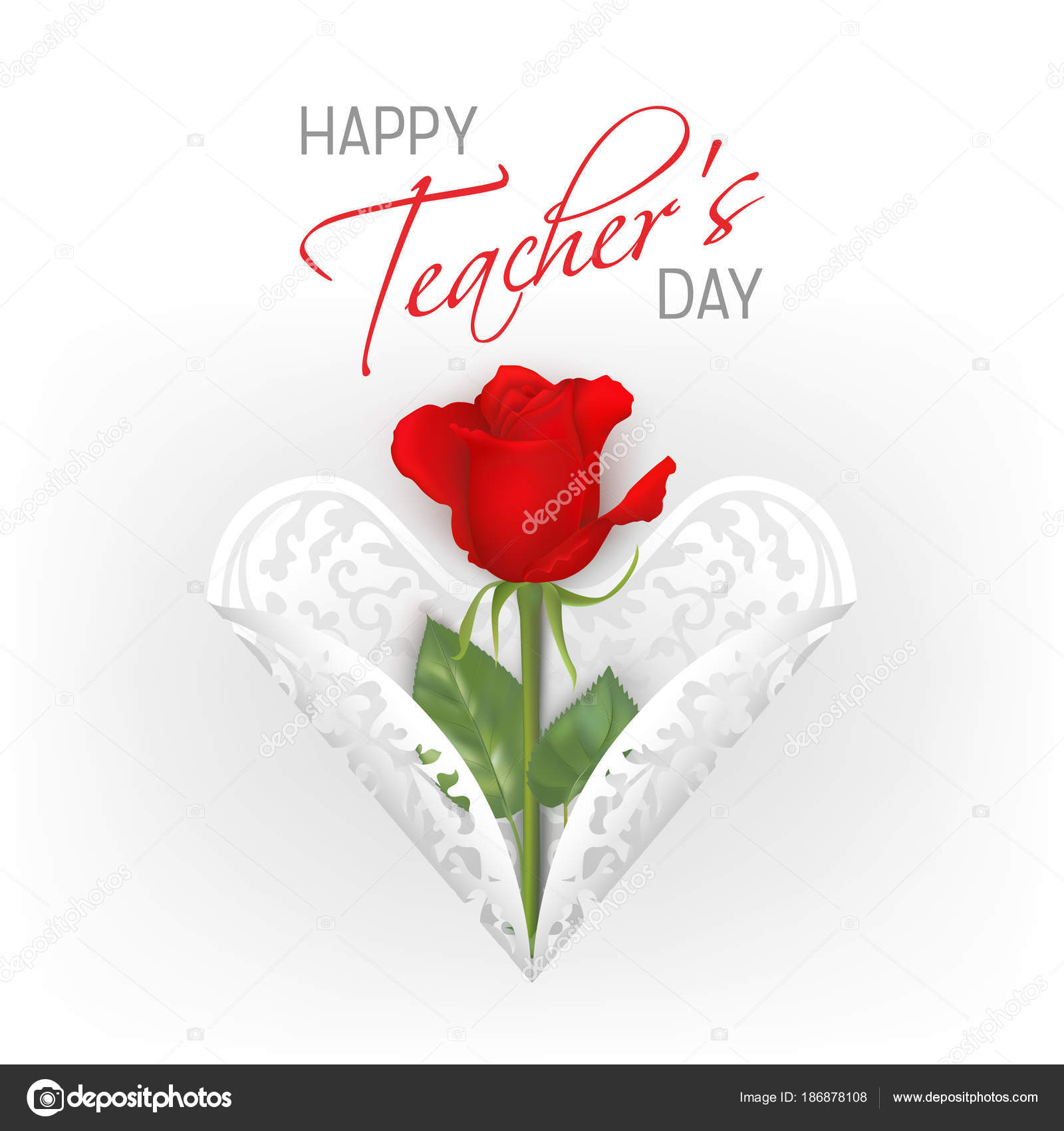 teachers day card with roses — stock vector © mirrima