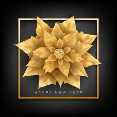 Happy New Year banner with frame and Christmas flower