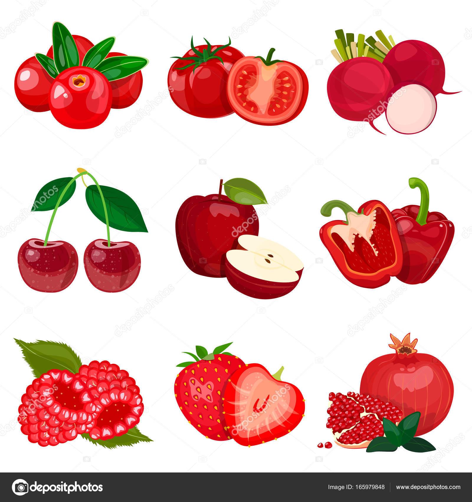 Набір червоні фрукти, городин і ягоди, ізольовані на ...  Набір че...