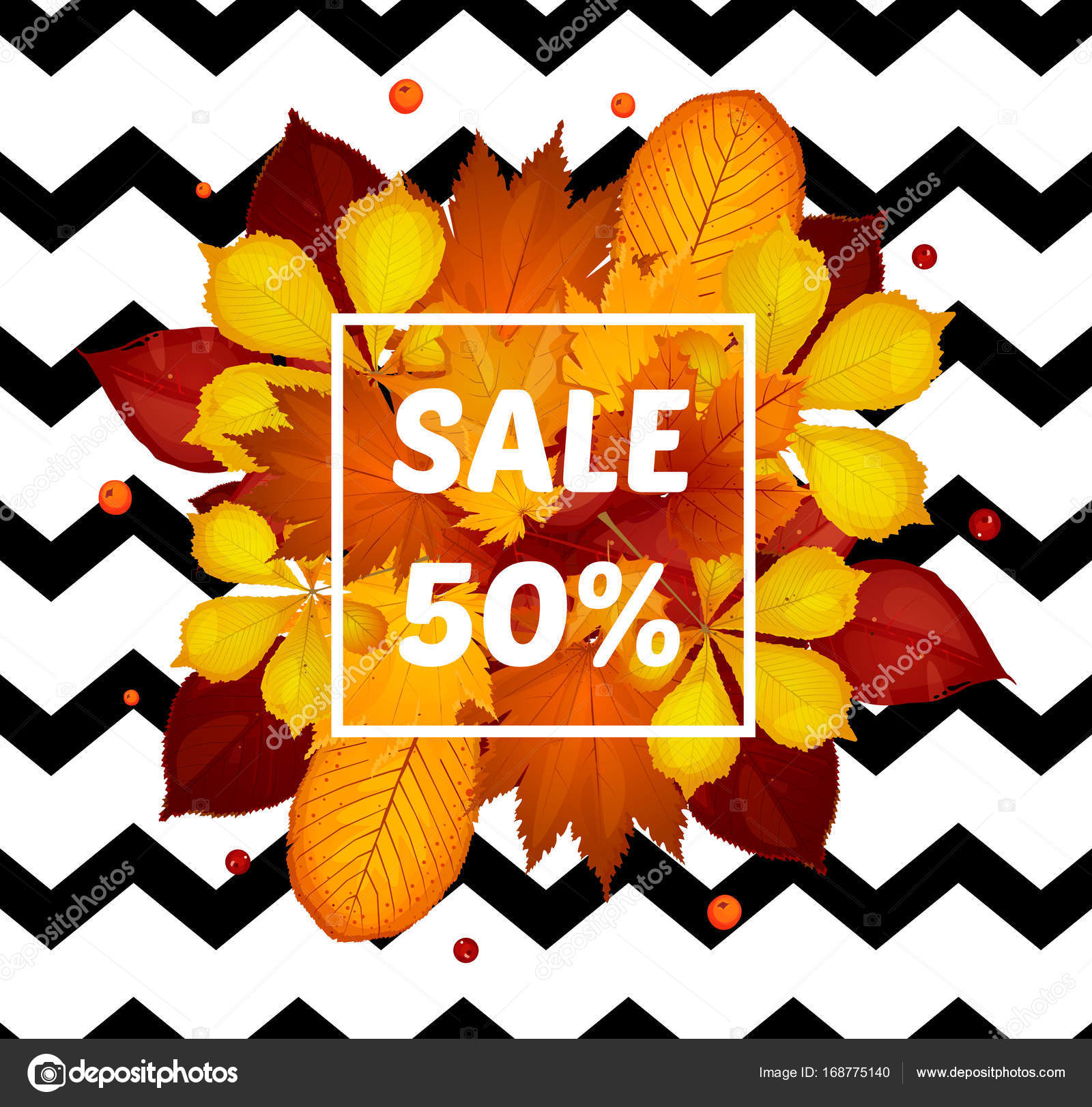 set autumn sale flyer template with lettering poster card label
