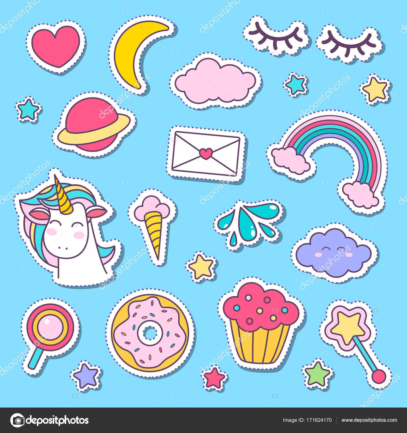 Etiqueta do unic rnio e cone dos desenhos animados de for Pegatinas de pared infantiles