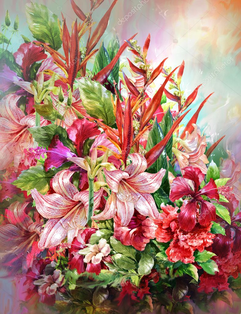 Bouquet of multicolored flowers watercolor painting style — Stock ...