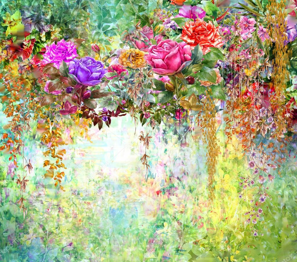 Abstrakcja Akwarela Malarstwo Kwiaty Wiosna Kwiaty Wielobarwny