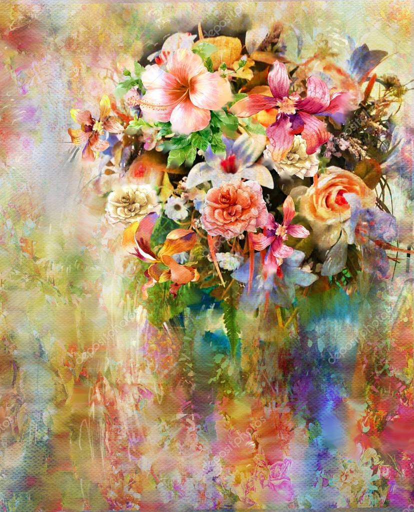 Abstract colorful flowers watercolor painting. Spring multicolored illustration