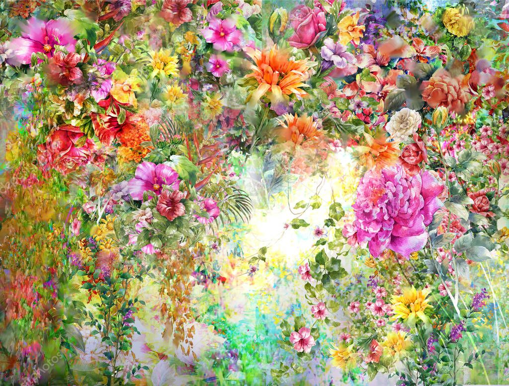Abstract colorful flowers watercolor painting. Spring