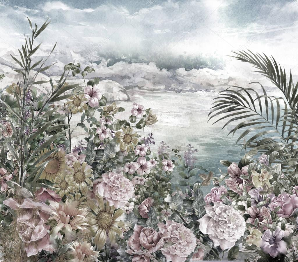 Abstract flowers watercolor painting. Spring multicolored near the sea illustration