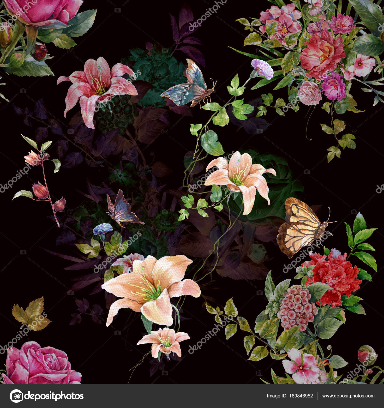 Watercolor Painting Leaf Flowers Seamless Pattern Dark Background