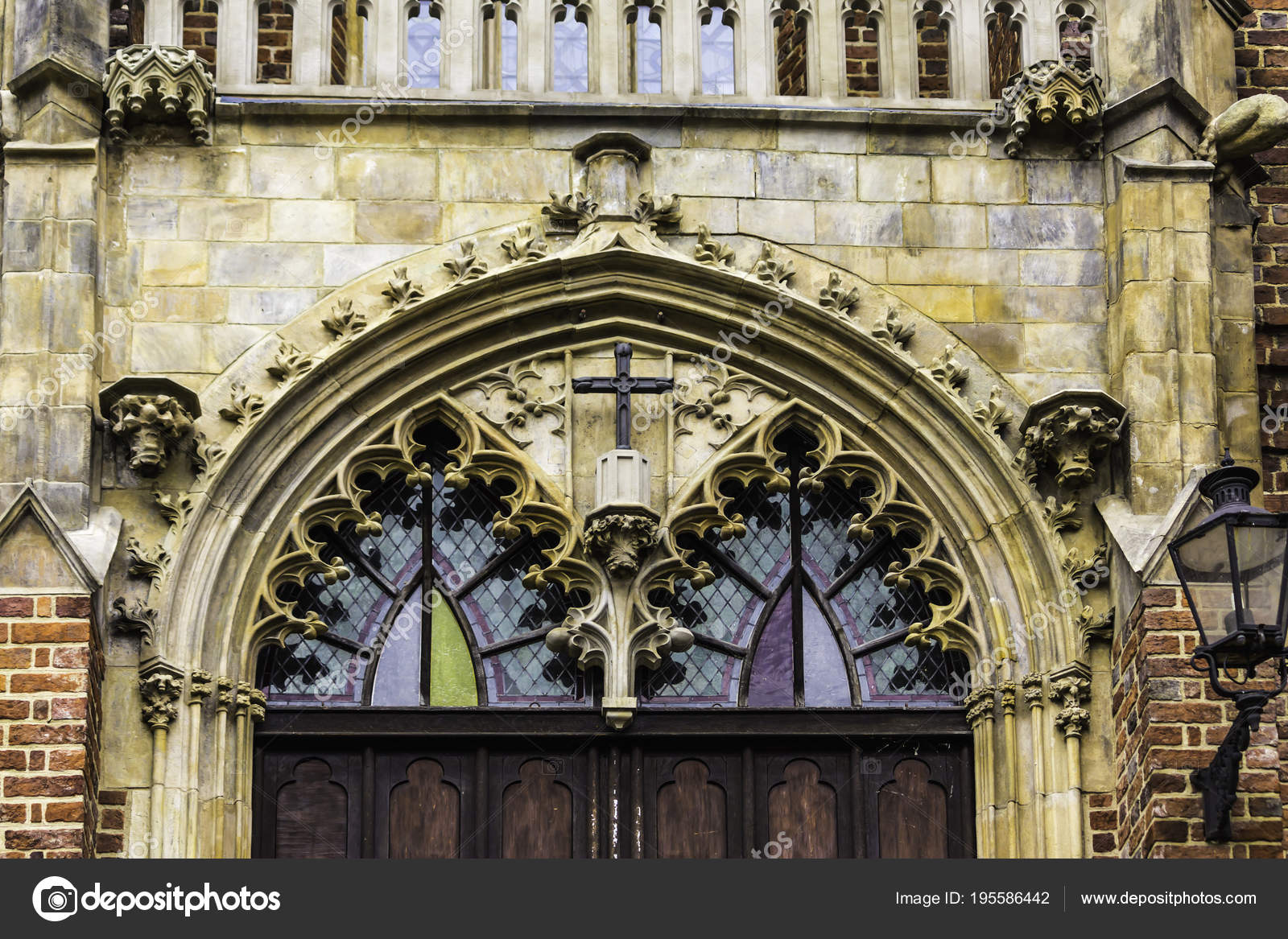 Entrance Church Gothic Style Stone Decoration Balustrade Stained