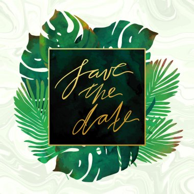 Trendy tropical jungle style vector invitation template. Watercolor paint textured palm-tree leaves on marble background. Natural stone, exotic green plants and emerald velvet textures.