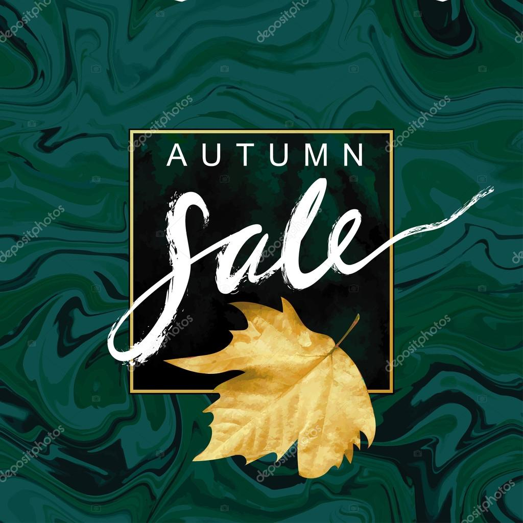 Fall Mood Illustration Flayer Vector Template Textured Leaf Shape On Marble Background Sabby Gold And Green Emerald Velvet Texture