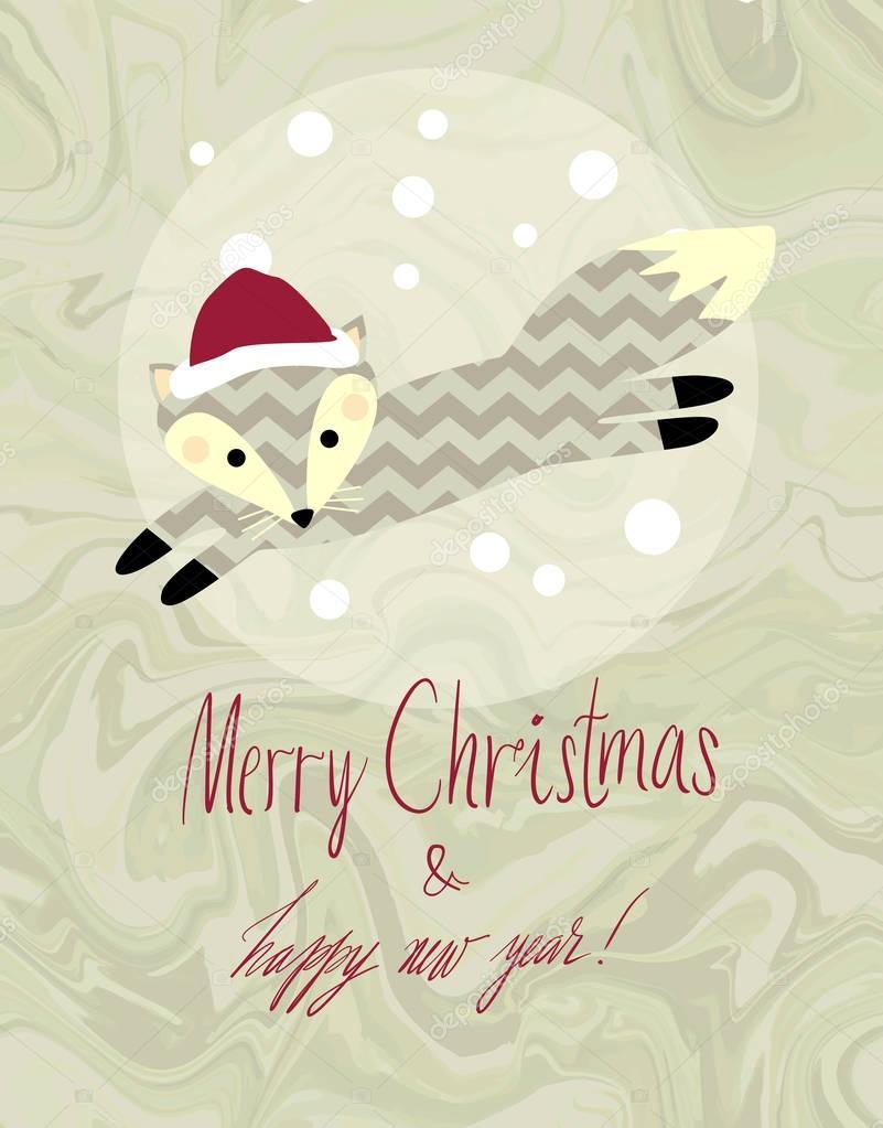 ilustração de inverno bonito animal cartão vetor de stock
