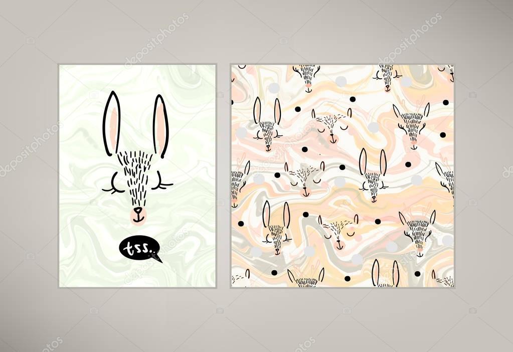 Dibujos animados lindo animales de patrones sin fisuras — Vector de ...