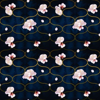 Seamless pattern with spring blossom