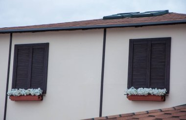 wooden windows with closed shutters and geranium