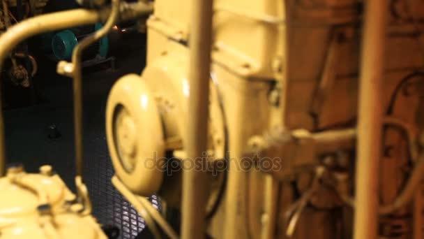 Diesel motor in ship engine room