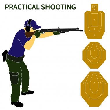 Practical shooting man and rifle targets illustration
