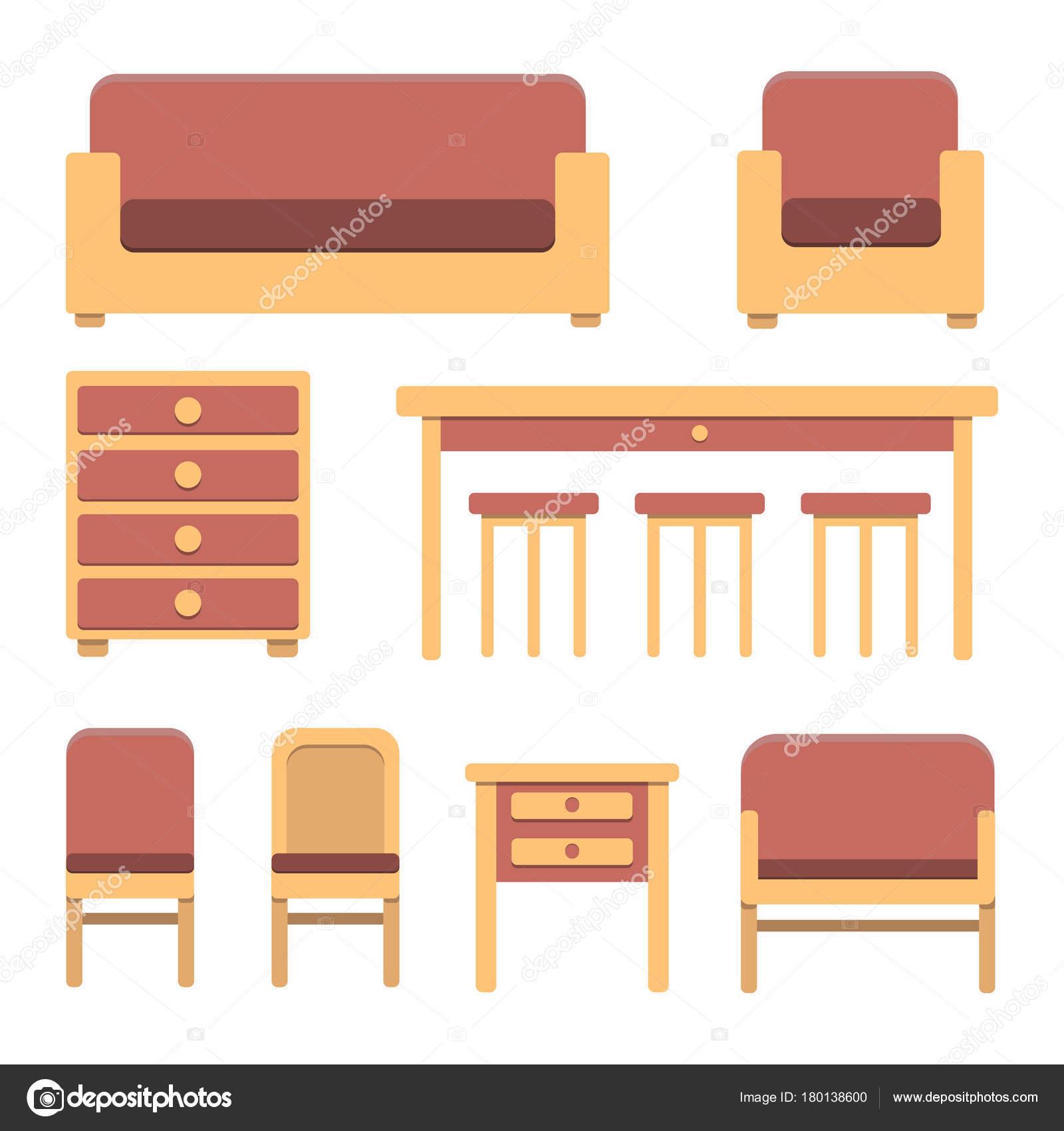 Satz von einfachen flachen Vintage-Möbeln in warmen Farben ...
