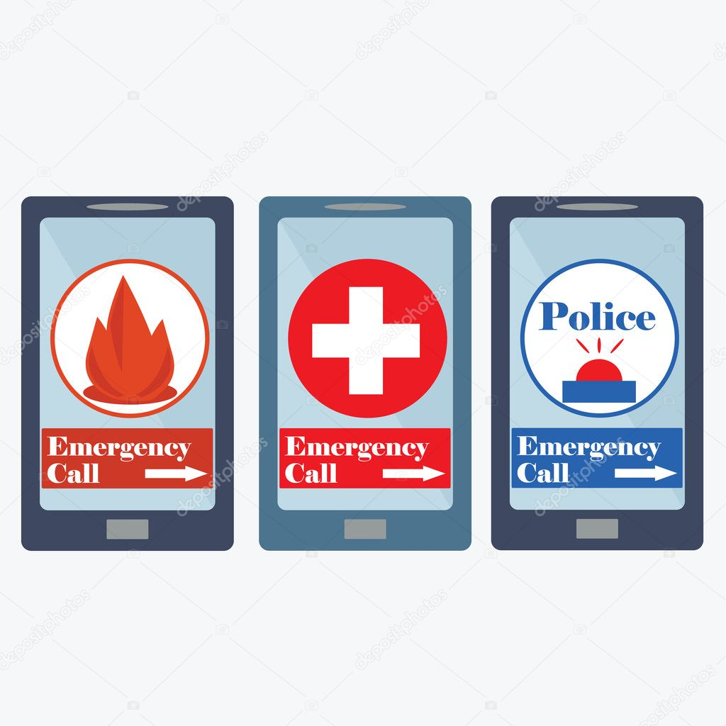 Emergency call number sign (ambulance, police department ...