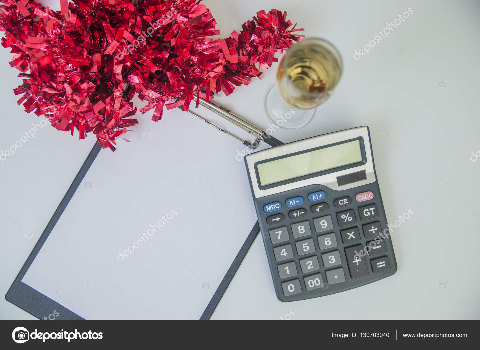 New Year's Financial Resolutions. Business Christmas of calculator, Christmas decorations, champagne — Stock